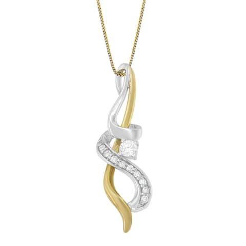 Espira 10k Two-tone Gold 1/5ct TDW Diamond Pendant Necklace (H-I, I1-I2)