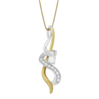 Espira 10k Two-tone Gold 1/5ct TDW Diamond Pendant (H-I, I1-I2)
