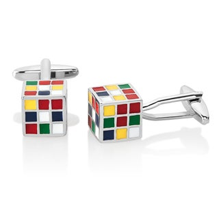 Men's High Polished Rubik's Cube Cufflinks