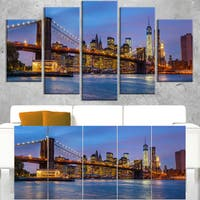 Brooklyn Bridge with Lights and Reflections - Cityscape Canvas print - Multi-color
