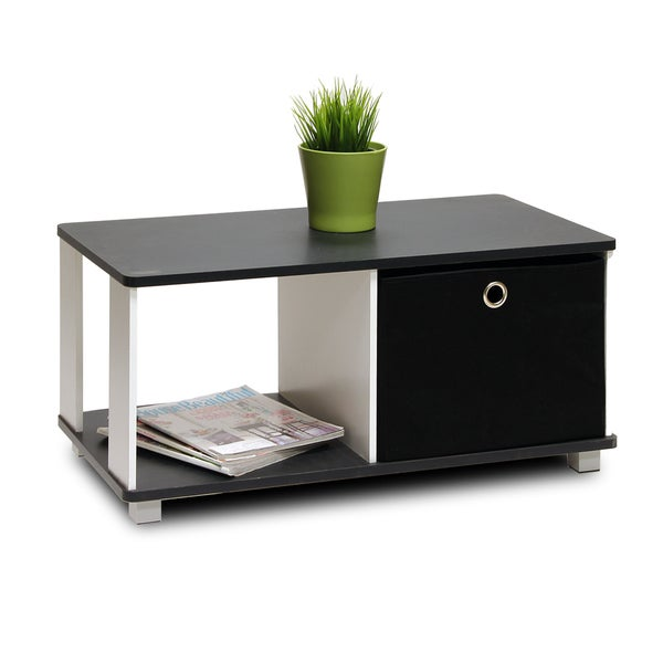 Furinno white and black coffee table with bin drawer free shipping today Black and white coffee table