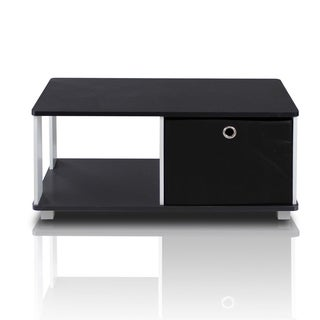 Furinno White and Black Coffee Table with Bin Drawer