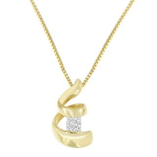 Espira 10k Yellow Gold 1/10ct TDW Round-cut Diamond Pendant Necklace (I-J, I2-I3)