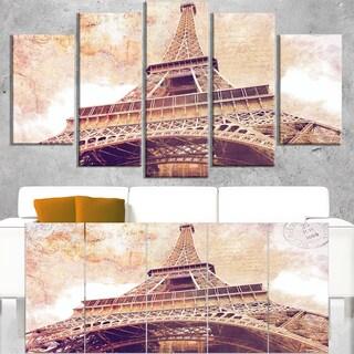 Paris Eiffel Tower Paris Postcard Design - Cityscape Canvas print