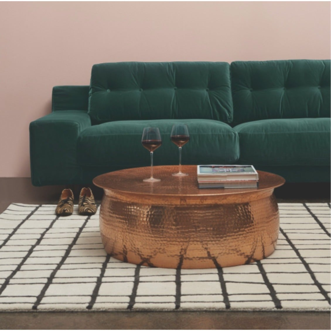 Hammered Rose Gold Finish Coffee Table (Rose Gold Hammere...