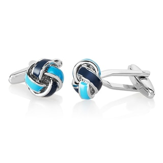 Men's High Polished Blue True Love Knot Cufflinks