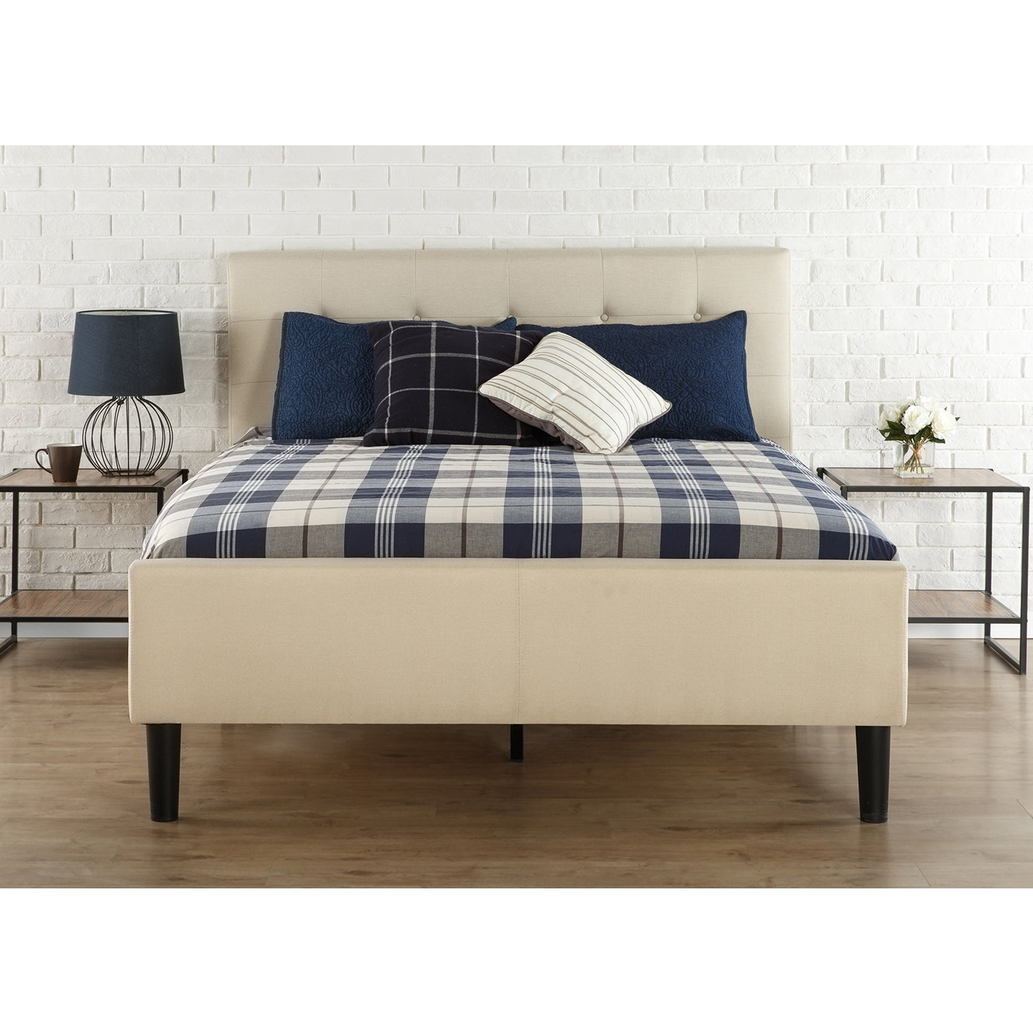 Priage by Zinus King Size Upholstered Button-Tufted Platform Bed with Wooden Slats (King)