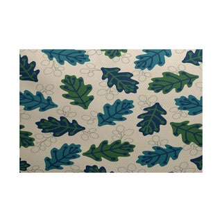 Retro Leaves Floral Print Indoor/ Outdoor Rug (5' x 7')