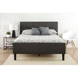 Priage King Upholstered Square Stitched Platform Bed