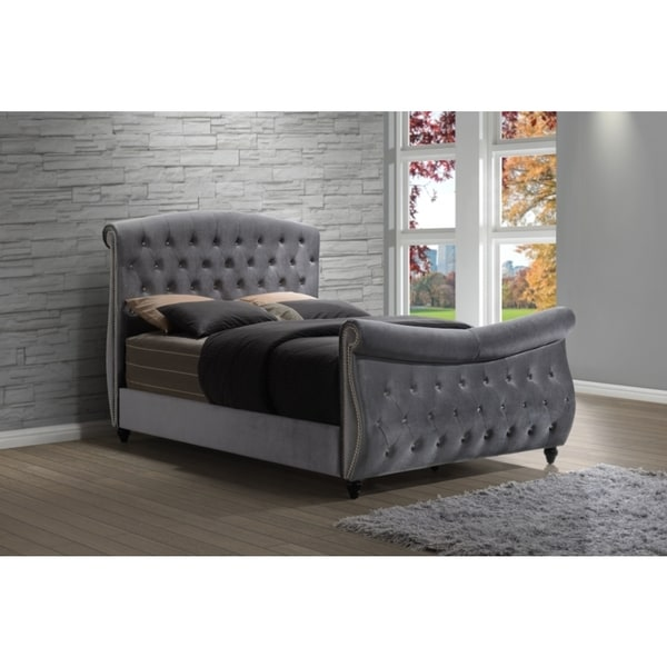 Shop Meridian Hudson Grey Velvet Sleigh Bed Free Shipping Today Overstock 12226624