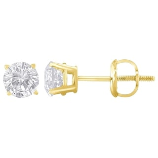 14k Yellow Gold 2ct TDW Diamond 4-prong Certified Stud Earrings (H-I, I2)