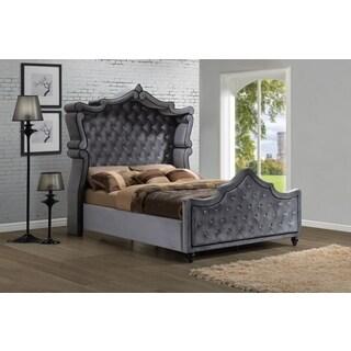 Diamond Canopy Golden Beige Velvet Tufted 5-piece Bedroom Set ...