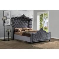Meridian Hudson Grey Velvet Canopy Bed