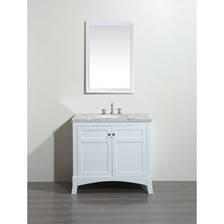 Eviva New York 36 inch White Bathroom Vanity with White Carrara Countertop and Undermount Porcelain Sink