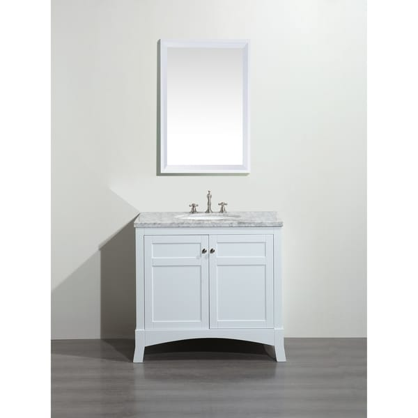 Eviva New York 36 inch White Bathroom Vanity with White Carrara Countertop and Undermount Porcelain Sink. Opens flyout.