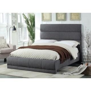 Meridian Cooper Grey Linen Quilted Panel Bed