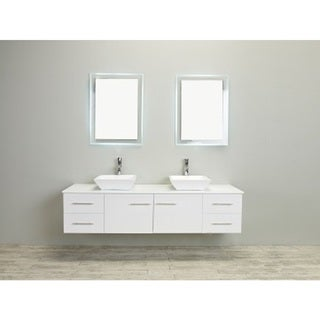 Totti Wave 72-inch White Modern Bathroom Vanity With Counter-Top And Double Sinks