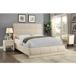 Meridian Cooper Beige Linen Quilted Panel Bed