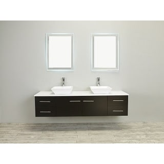 Totti Wave 72-inch Espresso Modern Bathroom Vanity With Counter-Top And Double Sinks