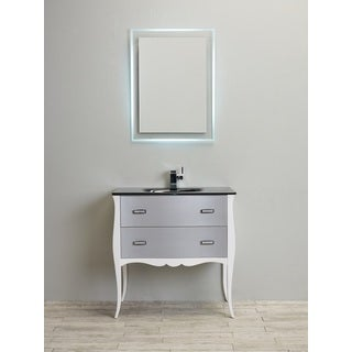 Eviva Aranjuez 32-inch  White and Silver Modern Bathroom Vanity Set with Integrated Sink
