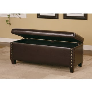 Coaster Brown Leather Nailhead Trimmed Storage Bench