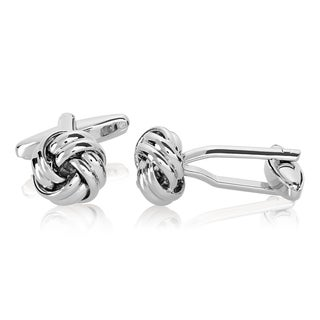 Men's High Polished Silver Tone True Love Knot Cufflinks