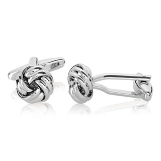Men's High Polished Silver Tone True Love Knot Cufflinks