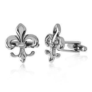 Men's Gun Metal High Polished Fleur de Lis Cufflinks|https://ak1.ostkcdn.com/images/products/12226798/P19071087.jpg?impolicy=medium