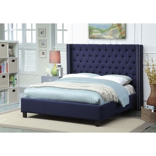 Meridian Ashton Navy Linen Tufted Wing Bed