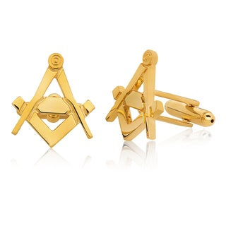 Men's Gold Tone High Polished Masonic Cufflinks