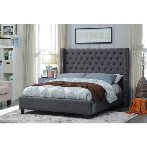 Meridian Ashton Grey Linen Tufted Wing Bed