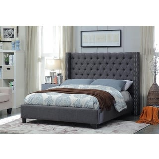 Meridian Ashton Grey Linen Tufted Wing Bed
