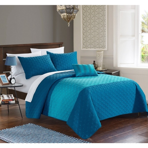 Chic Home Walker Teal 8-Piece Bed in a Bag Quilt Set