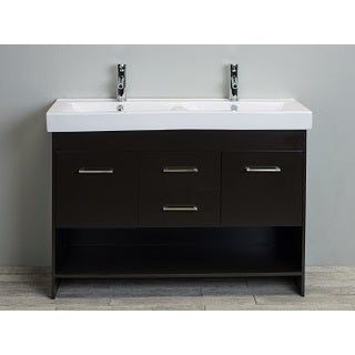 Totti Gloria 48-inch Espresso Double Sink Bathroom Vanity with White Integrated Double Porcelain Sink