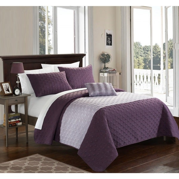 Chic Home Walker Lavender 8-Piece Bed in a Bag Quilt Set