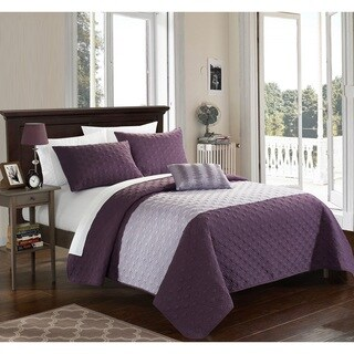 Chic Home Walker Lavender 8-Piece Bed in a Bag Quilt Set