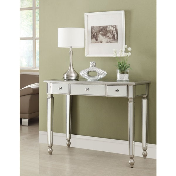 Coaster company traditional silvertone mirrored console table free shipping today overstock - Mirrored console table overstock ...