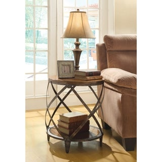 Coaster Company Oak Finish Lattice Accent Table