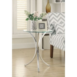 Coaster Company Chrome and Tempered Glass Snack Table