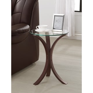 """Coaster Company Cappuccino Colored Wood and Tempered Glass Snack/End Table - 21.25"""" x 15.75"""""""