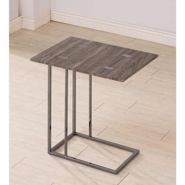 Wonderful Coaster Company Weathered Wood And Metal Snack Table
