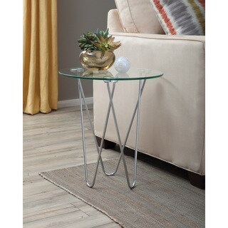 Contemporary Chrome and Glass Accent Table