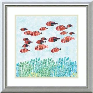 Framed Art Print 'Red Fish School' by Sarah Millin 18 x 18-inch