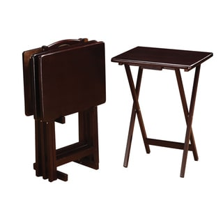 "Coaster Company Cappuccino Solid Wood Tray Tables and Stand (Set of 4) - 19.25"" x 14.50"" x 25.50"""