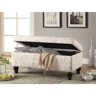 Coaster Oatmeal Linen French Script Storage Bench