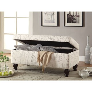 Coaster Company Oatmeal Linen French Script Storage Bench