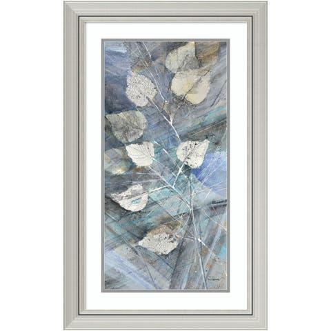 Framed Art Print 'Silver Leaves I' by Albena Hristova 20 x 32-inch - Blue/Grey