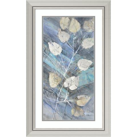 Framed Art Print 'Silver Leaves II' by Albena Hristova 20 x 32-inch - Blue/Grey