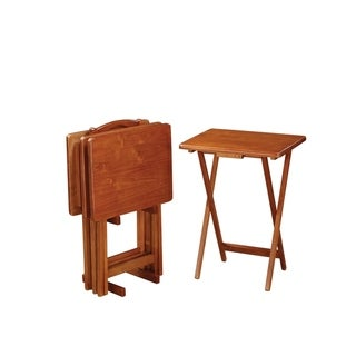 Coaster Company Oak Solid Wood Tray Tables with Stand (Set of 4)