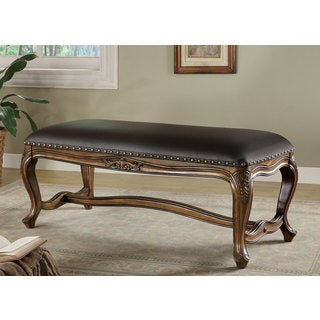 "Gracewood Hollow Allison Black Faux Leather Upholstered Bench - 48"" x 20.50"" x 20"""